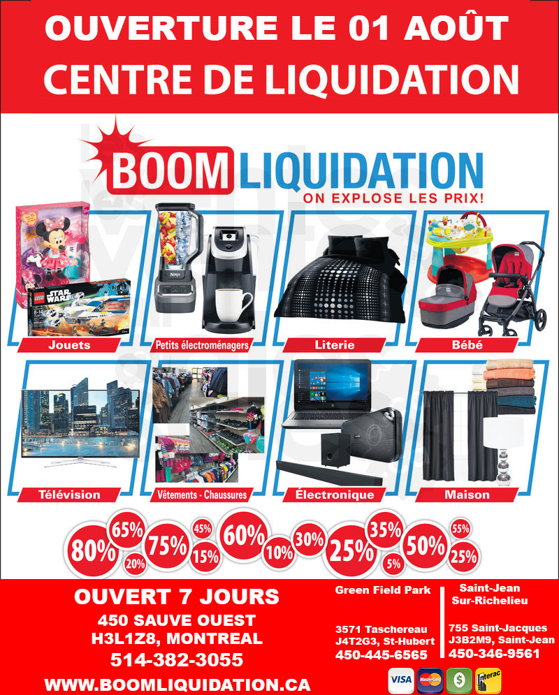 Boom Liquidation Montreal Up To 80 Off Allsales Ca