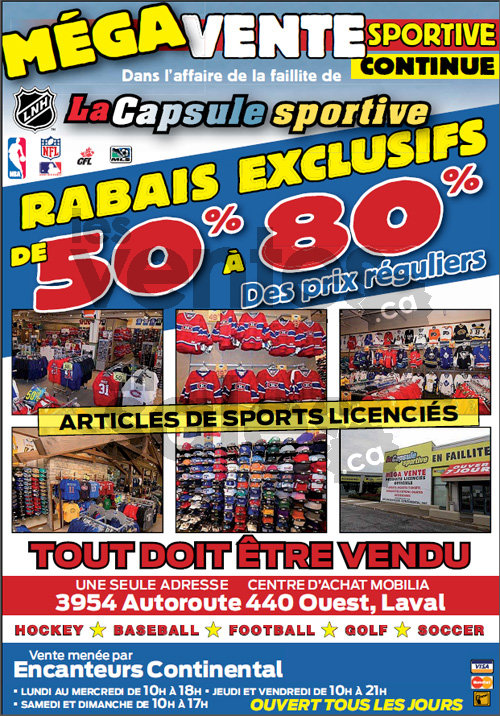 Bankruptcy sports sale 50 to 80 off for Mobilia opening hours