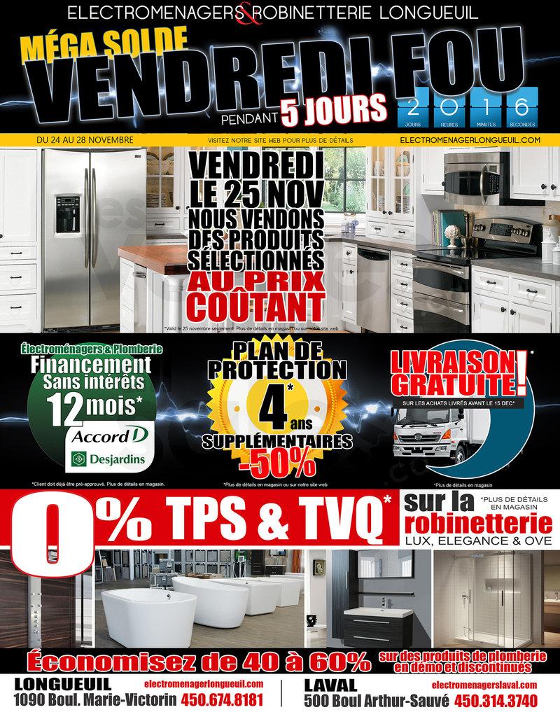 Home appliances black friday mega sale for Liquidation salle de bain laval