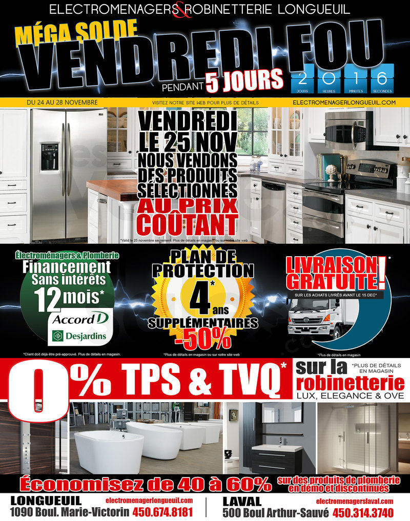 Home appliances black friday mega sale for Centre liquidation meuble longueuil