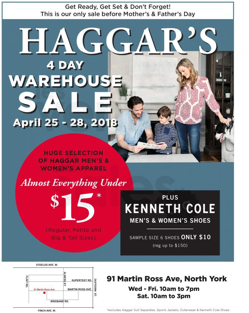 Huge selection of men's & women's apparel including Kenneth Cole Shoes. Almost Everything Under $15 at Haggar's Warehouse Sale
