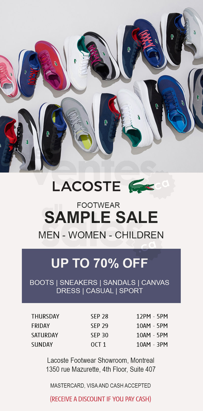 Lacoste Footwear Sample Sale Up To 70 Allsales Ca