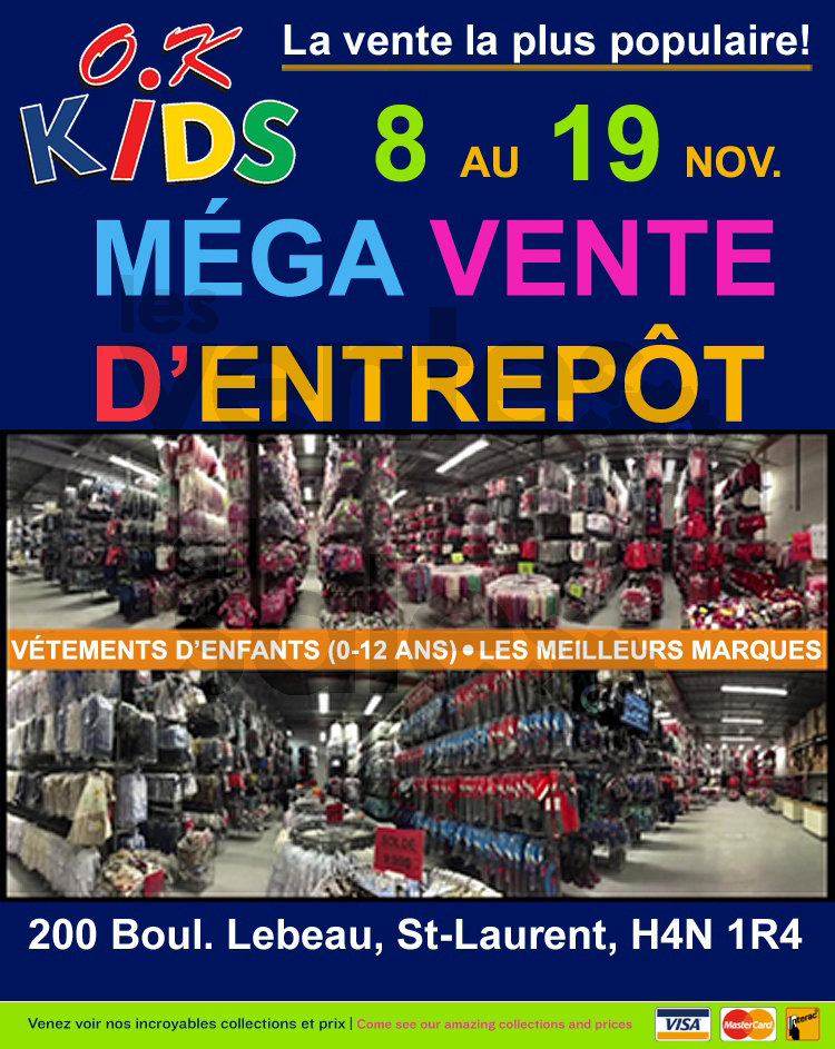 Ok kids mega warehouse sale 50 up for Mega meuble montreal