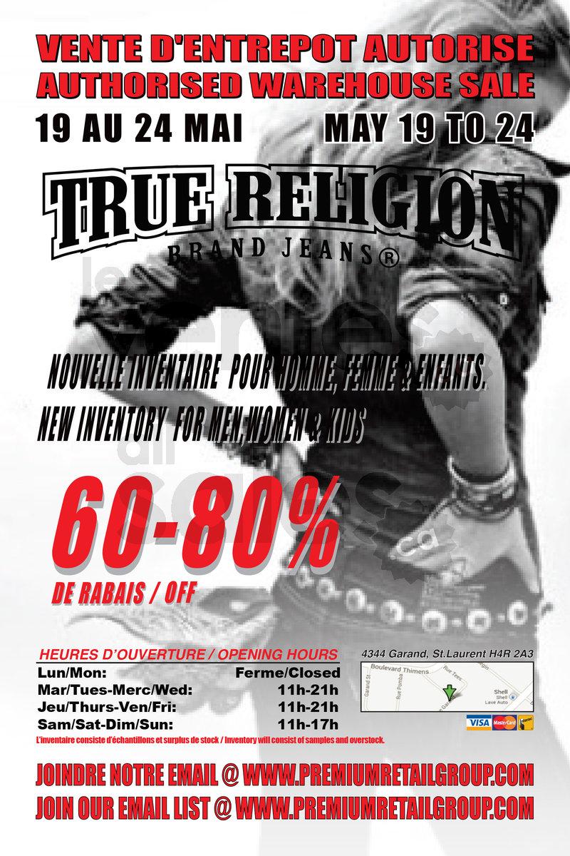 4d4ed3aeb ... True Religion warehouse sale! First come