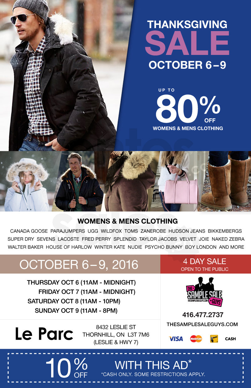 Sample Sale Guys Thanksgiving Sale
