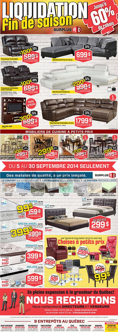 High Quality Do Not Miss The End Of Season Liquidation Sale At Surplus RD! From  September 5 To September 30th Only! Save Up To 60% On Living Room Furniture,  Sectionals, ...