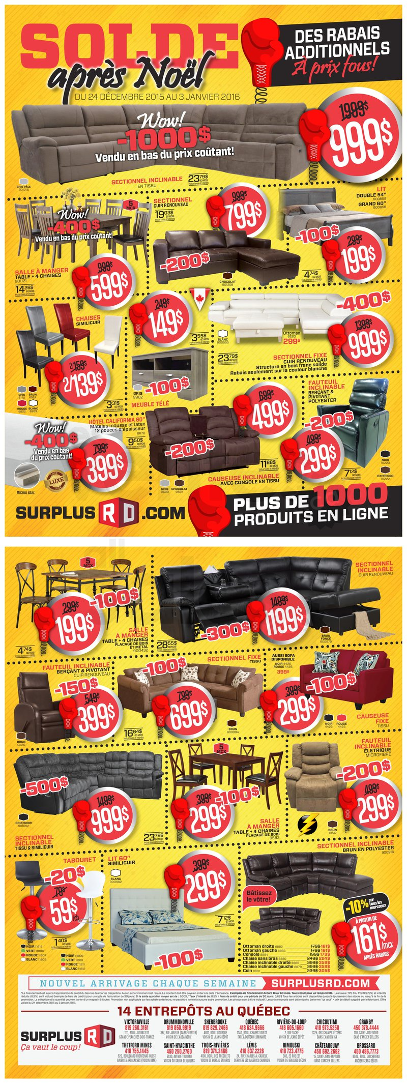 Boxing week furniture liquidation for Club piscine st jerome liquidation